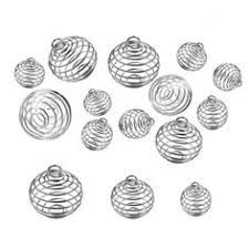 JIALEEY Spiral Bead Cages Pendants, <b>30 PCs</b> 3 Sizes <b>Silver Plated</b> ...