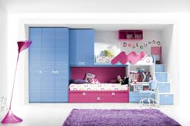 bedroom blue wooden storage combined with pink wooden bed and study table also stairs amazing space saving bedroom ideas furniture