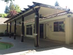 aluminium patio cover surrey: rafter tails style wood grained aluminum patio cover available in san jose and sacramento areas