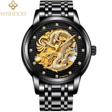<b>Wishdoit Luxury</b> Men Watch <b>Dragon Golden</b> Mechanical Automatic ...