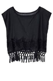 <b>Fashionable Scoop Neck</b> Solid <b>Color</b> Tassel Splicing Short Sleeve T ...