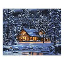 <b>WEEN Winter Snow</b> House <b>DIY</b> Oil <b>Painting</b> By Numbers for Adults ...