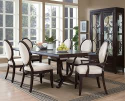 Fabric Dining Room Chair Dining Room Table And White Fabric Upholstered Dark Wooden Dining