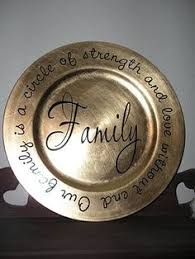 charger plates decorative: family plate gold charger from craft store amp quote printed on vinyl cut out