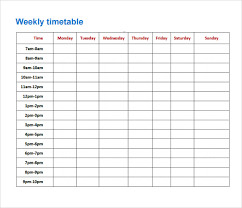 timetable template     download free documents in pdf   excelweekly timetable template