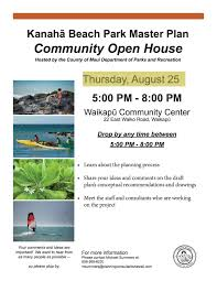 kanaha beach park master plan community open house kanaha watch