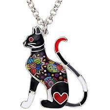 <b>BONSNY Statement Enamel Alloy</b> Chain Cat Necklaces Pendant ...