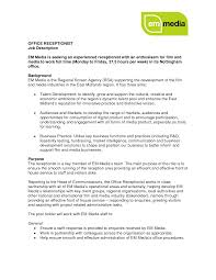 receptionist resume duties office receptionist job description receptionist resume duties 3105