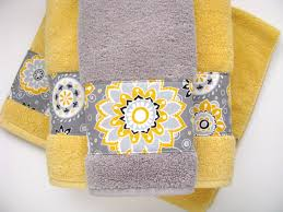 grey towels hand towel  hand towels towel yellow and grey zoom