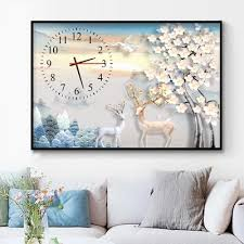 <b>DIY Wall Clock 5D</b> Deer Diamond Painting Cross Stitch Rose Watch ...