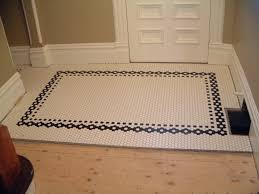 mosaic tile borders bathroom creative tile flooring patterns small white hex tile with black border