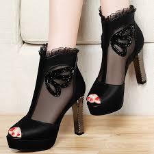 <b>Centenary</b> 2017 Fashion Rhinestone Lace High <b>Heeled</b> Shoes ...
