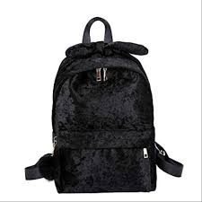 XSSJBG <b>Solid</b> Color <b>Women's Backpack</b> With Hair Ball Bow Design ...