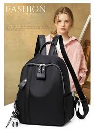 New <b>Waterproof Nylon</b> Women Backpack Zipper <b>School</b> Bags For ...