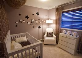 amazing baby nursery interior with drum floor lamp and white sofa and dresser amd star wall baby room color ideas design