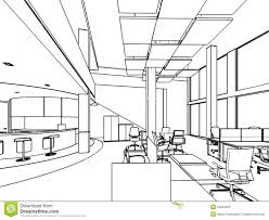 outline sketch of a interior art drawing office