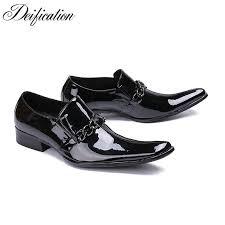 <b>Deification</b> Shiny Black Zapatos De Hombre <b>Slip</b> On Formal Dress ...