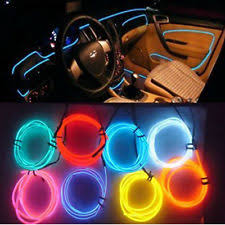 1m 12v blue led lamp wire ambient luminescent tube light strip diy decor in car car mood lighting