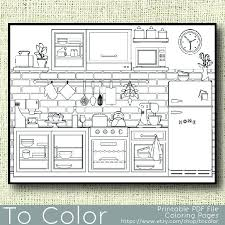 Small Picture Printable Kitchen Coloring Page for Adults PDF JPG Instant