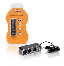 <b>Прикуриватель</b>-<b>разветвитель</b> на <b>3</b> гнезда + USB (черный), купить ...