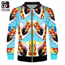 OGKB Unisex Lovely Cartoon Funny <b>Printing Shark</b> Eat Pizza Jacket ...