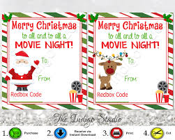 redbox gift card redbox codes gift tags cards digital printable 4 different designs merry christmas to all and to all a movie night redbox code movie gifts
