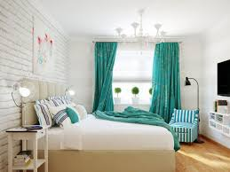 Turquoise Bedroom Classy Bedroom Design With White Paint Wall And Turquoise Curtain