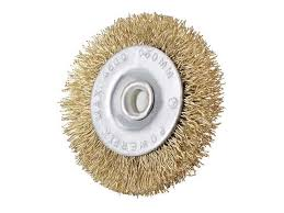 <b>Wire</b> Wheel Brush with Shank Bench Copper Plated <b>Crimped</b> Steel ...