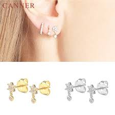<b>CANNER</b> Stainless Steel <b>Earrings</b> Gold Color CZ Crystal Zircon ...