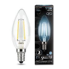 <b>Лампа Gauss LED</b> Filament <b>Свеча</b> E14 11W 750lm 4100К 1/10/50 ...