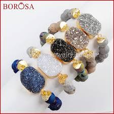 <b>BOROSA 5PCS New Gold</b> Color Titanium Druzy Bracelet With ...