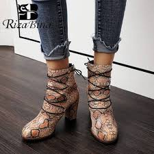 RIZABINA <b>Plus Size 34 48</b> Women <b>Ankle</b> Boots Sexy Snakeskin ...