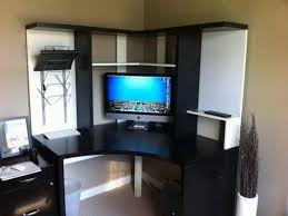 chic corner ikea micke desk in white and black with hutch plus computer set for workspace chic ikea micke desk white