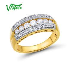 edi classic natural diamond lovers engagement ring 14k 585 two tone gold wedding bands fine jewelry