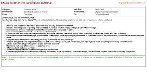 Clerk Job Title Sales Clerk CV Work Experience