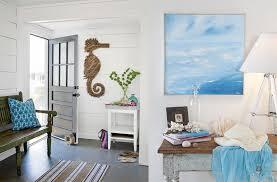 white and blue interior beach house decor coastal