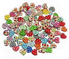 100pcs Multicolored Heart Shaped 2 Holes Wood ... - Amazon.com