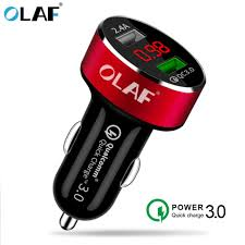 <b>OLAF</b> 5V 3A Metal Dual USB <b>Car Charger</b> Digital Display For ...