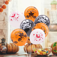 50pcs <b>Halloween</b> Balloon Pumpkin <b>Skull Blood Handprint</b> Air ...