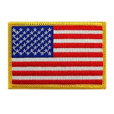 American Flag Embroidered Patch Gold Border USA ... - Amazon.com