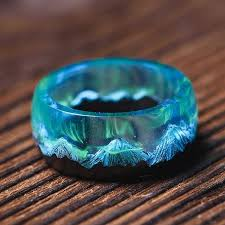 <b>Wood</b> Resin Rings   Aurora Epoxy <b>Ring</b>  Northern Lights <b>Ring</b> (с ...