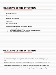 objective of the interview interview motivation