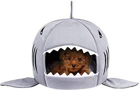 Dog Cat Bed Covered Cave Washable Shark House ... - Amazon.com