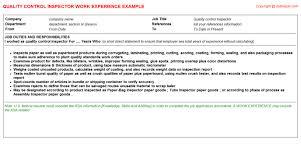 process quality control checker cv work experiencequality control inspector resume work experience sample
