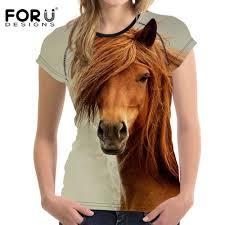 <b>FORUDESIGNS</b> 3D Crazy Horse Women T Shirt For <b>Girls Summer</b> ...