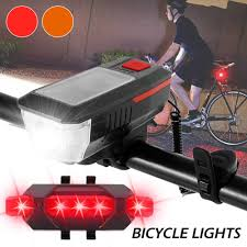 <b>Solar Power Bicycle</b> Headlight Horn Bell Lamp <b>Bike Front</b> Rear Light ...