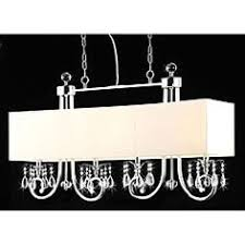 Finished in chrome with a <b>light beige</b> shade, this <b>crystal</b> chandelier ...