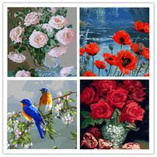 Yunxi <b>арт</b>, с diy <b>рамой</b> 40*50 см, абстрактные цветы, Масляные ...