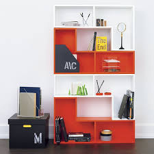 home office open shelf in red and white cb2 office