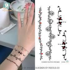 RC <b>008</b>/Waterproof Disposable Tattoo Stickers Wrist Vine <b>Flower</b> ...